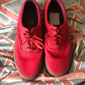 All red vans with gum bottom